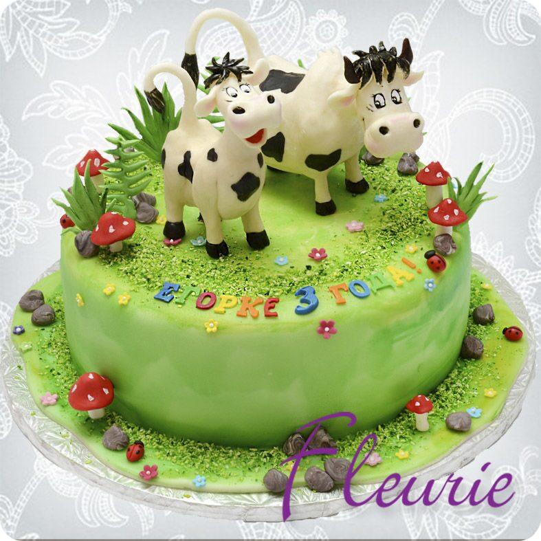 Детские торты с коровками на заказ фото